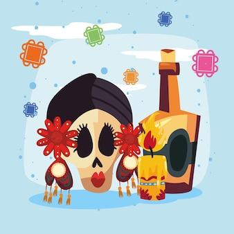 Totenkopf mit kerze und tequila