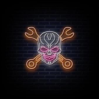 Totenkopf mit schraubenschlüsseln neon logo leuchtreklame und symbol