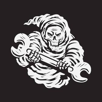 Totenkopf sensenmann mit schraubenschlüssel-vektor-illustration