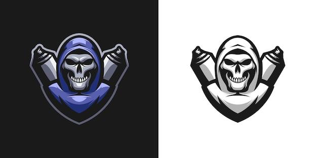 Totenkopf-straßen-maskottchen-design
