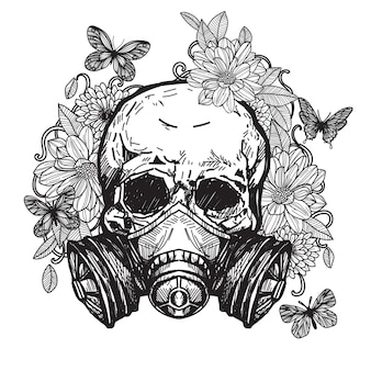 Totenkopf tattoo mit giftmaske blumen mit schmetterlingen auf dem rücken