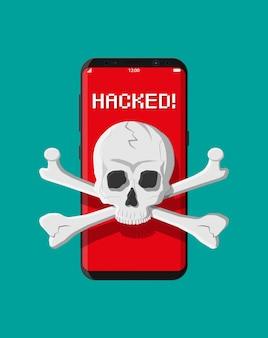 Totenkopf und gekreuzte knochen auf dem smartphone-bildschirm