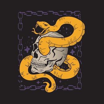 Totenkopf- und schlangenposter mit kettenrahmendesign