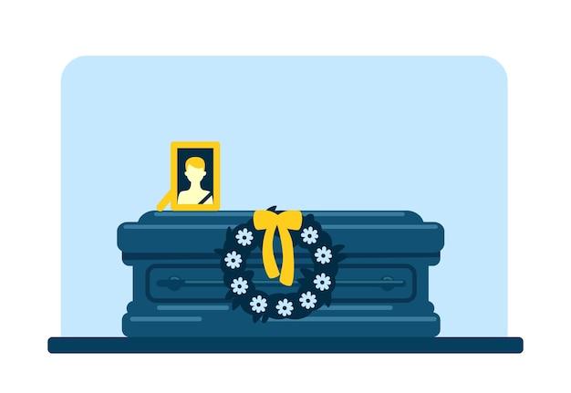 Totenmann sarg und foto flache farbe. bestattungstradition. bestattungszeremonie. 2d-cartoon-innenraum des ritualdienstes mit verstorbenem männlichem bild und blumenkranz auf hintergrund