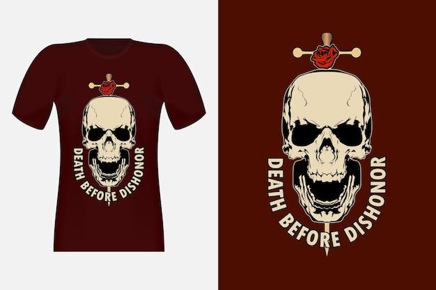 Totenschädel mit blumen-vintage-t-shirt-design
