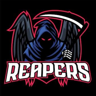 Toter maskottchen-reaper mit schwarzen flügeln