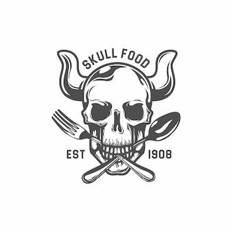 Toter schädel beißen gabel und löffel. restaurant logo vorlage. sechseck-vektorzeichnung