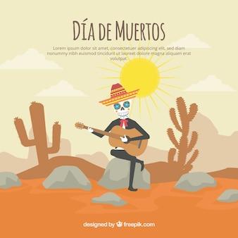Totes tag hintergrund mit skelett gitarre spielen