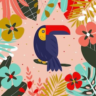 Toucan auf einem ast, umgeben von tropischen blättern