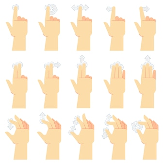 Touchscreen-gesten. fingertipp, wischgeste und handberührte smartphonebildschirme. berühren sie ui cartoon vektor icons set