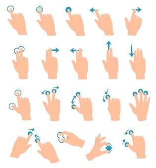 Touchscreen-gesten tablet- oder smartphone-hand-swipe-touch-zoom-symbol-vektor-set