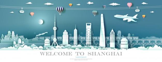 Tour wahrzeichen innenstadt shanghai mit städtischen wolkenkratzer.