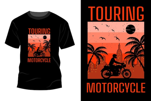 Touring motorrad t-shirt mockup design vintage retro