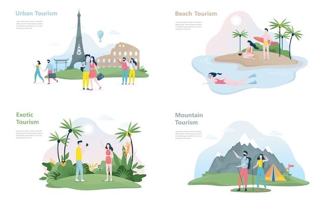 Tourismus banner set. verschiedene arten von reisen