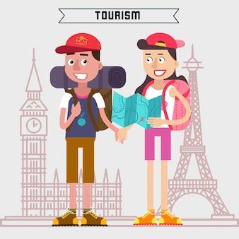 Tourismus industrie. aktive menschen. mädchen mit karte. mann mit rucksack. touristen mit gepäck. glückliches paar.