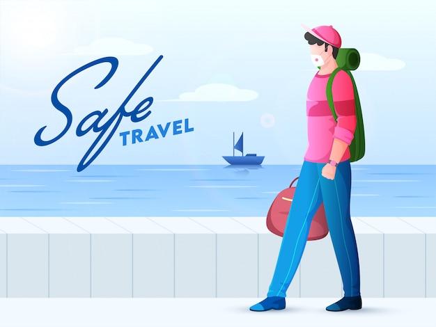 Tourismus junge tragen schutzmaske mit taschen in walking pose in der nähe von marine oder meerblick für sicheres reisen.