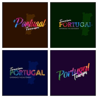 Tourismus-portugal-typografie-logo-hintergrundsatz