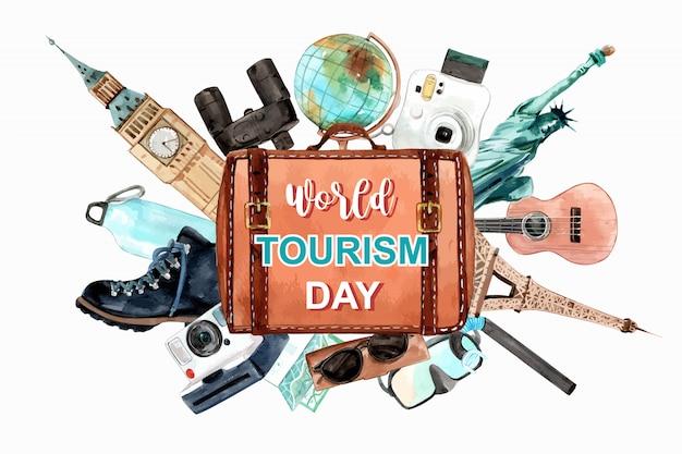 Tourismus-rahmendesign mit eifelturm, freiheitsstatue, glockenturm