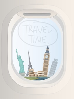 Tourismus reise banner. tourismusreisen. bullauge fenster mit sehenswürdigkeiten der welt.