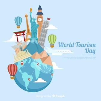 Tourismus tag mit sehenswürdigkeiten und transport