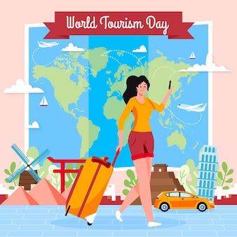 Tourismus-tagesillustration mit frau und gepäck