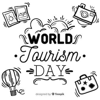 Tourismus-tageskonzept mit schriftzug