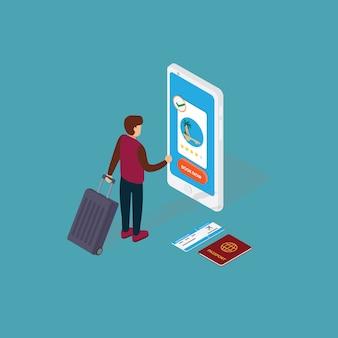 Tourismus- und buchungs-app-konzept. leute, die online-urlaubsticket auf smartphone buchen