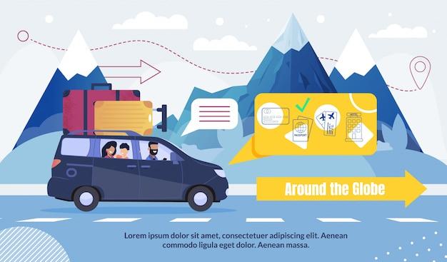 Tourismus und reisen rund um den globus werbung