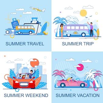 Tourismus und sommer reisen flache cartoon promo set. urlaub und ausflug am wochenende. leute, die auto fahren und mit dem bus oder flugzeug reisen