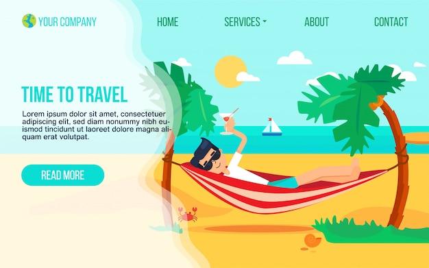Tourismusagentur flache landung seitenvorlage