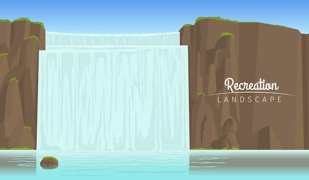 Tourismuslandschaftshintergrund mit wasserfall