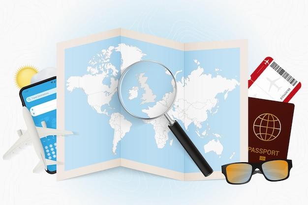 Tourismusmodell des reiseziels großbritannien mit reiseausrüstung Premium Vektoren