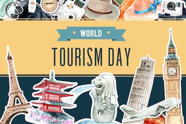 Tourismusrahmendesign mit markstein von singapur, japan, london, frankreich.