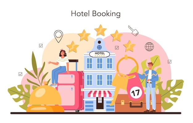 Tourismusspezialist konzept reisebüro, das tour cruise airway verkauft