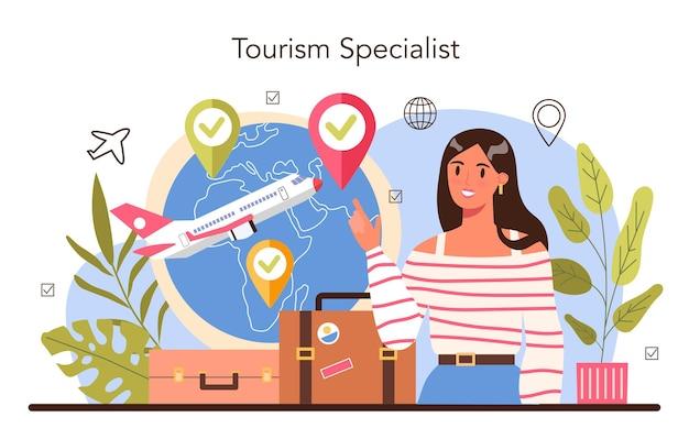 Tourismusspezialist konzept. reisebüro, das tour-, kreuzfahrt-, flug- oder bahntickets verkauft. agentur für urlaubsorganisation, hotelbuchung und visumantrag. flache vektorillustration