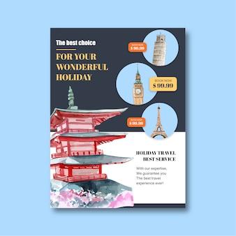 Tourismustagesfliegerdesign mit palast, schloss, errichtend