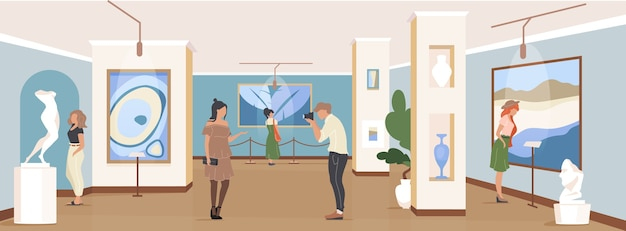 Tourist auf galerie ausstellung flache farbe. zeitgenössisches meisterwerk. leute im museum. 2d-zeichentrickfiguren der kunstgaleriebesucher mit kunstwerkinstallation auf hintergrund