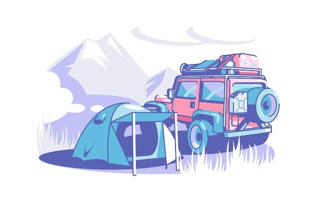 Tourist camp zelt und geländewagen vektor illustration camping abenteuer berg und wald wilde natur