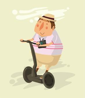 Tourist fährt segway-flache illustration