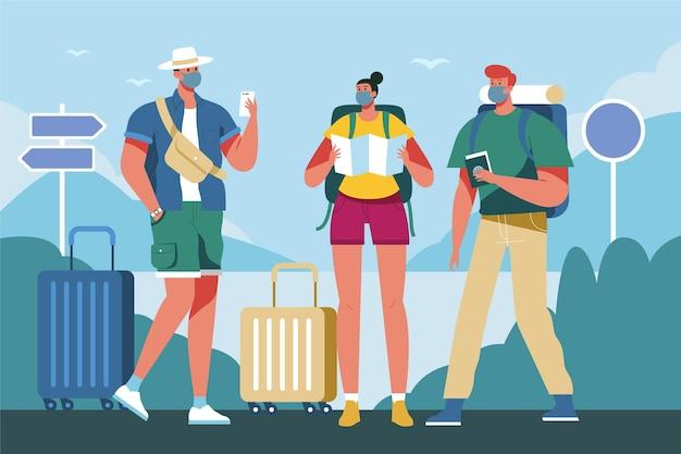 Tourist im freien tragen gesichtsmasken
