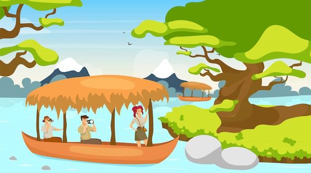 Tourist in der bootsillustration. gruppe auf schiffsreise. segeln am flussbach. regenwaldlandschaft. mystischer wald mit wasserlauf. weibliche und männliche zeichentrickfiguren
