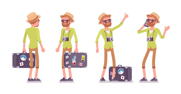 Tourist mann mit gepäck