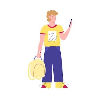 Tourist mit telefon für navigation oder taxi flache vektorgrafik isoliert