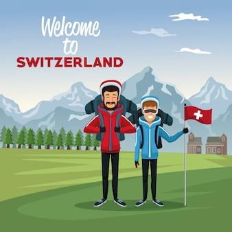 Tourist paar menschen und text willkommen in der schweiz