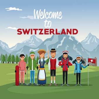 Tourist und traditionelle menschen mit text willkommen in der schweiz