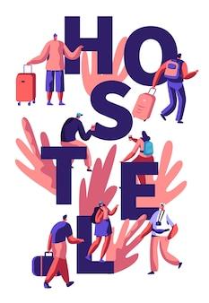 Tourist zu fuß zum hostel mit gepäck. hostel konzept illustration