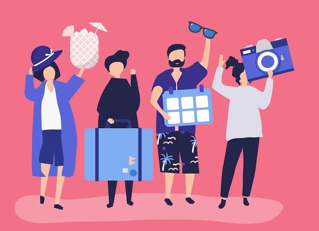 Touristen, die auf einen tropischen feiertag gehen