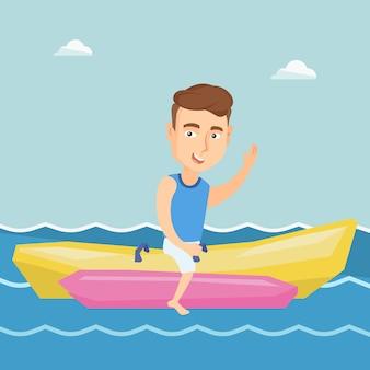 Touristen, die eine bananenbootsvektorillustration reiten.