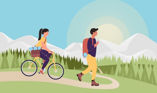 Touristen, die zusammen reisen