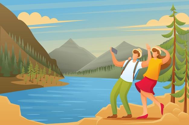 Touristen erkunden die schönheit der natur, urlauber werden im wald fotografiert